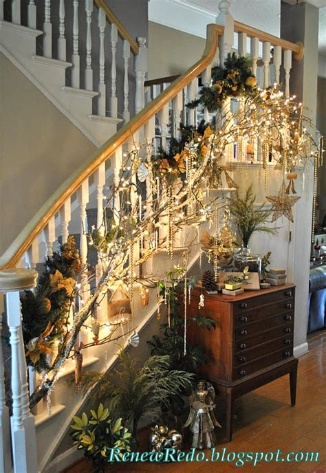 stairs decorations renew redo christmas decorations for the stairs