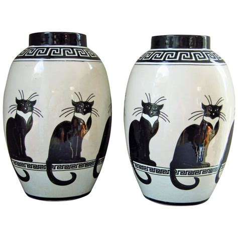 mid century pair of vases ceramic 1960s cat decor by