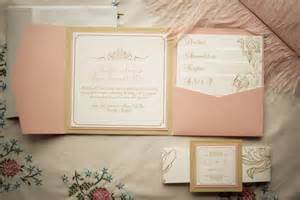 wedding invitation package pink and gold by pinkorchidinvites