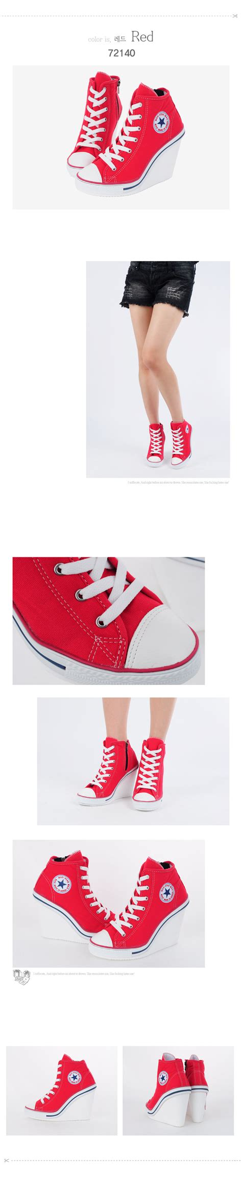 Wedges Fashion Korea 777 3 Warna womens shoes canvas wedge high top heel lace up fashion sneakers 777 side zipper ebay