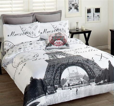 paris eiffel tower comforter set 3pcs double bed