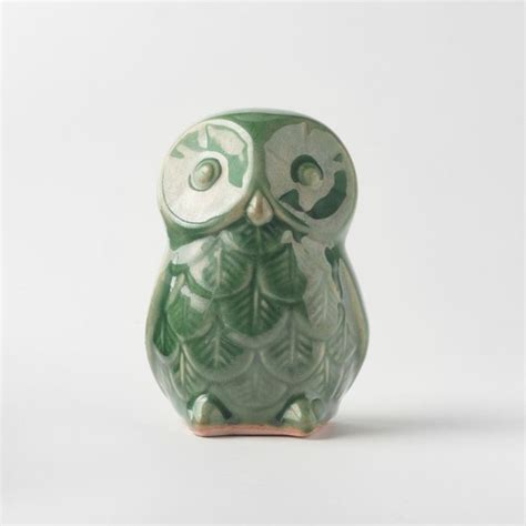 st jude ceramic owls green contemporary home decor