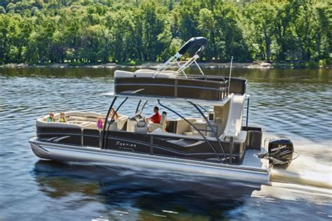 used pontoon boats with upper deck and slide for sale premier marine debuts upper deck pontoon boat trade only