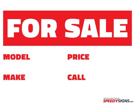 free vehicle for sale printable sign template free