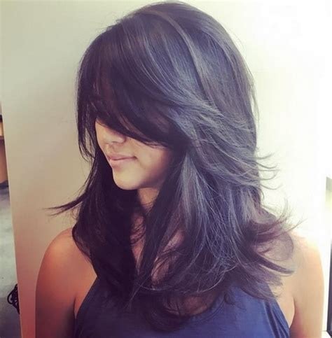 messy with long bangs 15 ideas for long shag hairstyles goostyles com