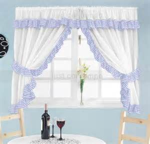 Material For Kitchen Curtains Blue White Gingham Check Frill Kitchen Curtains Set Ebay