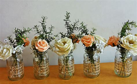 rustic spring summer wedding jar centerpieces flowers for jars
