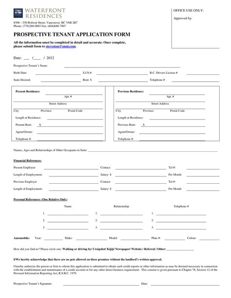 tenant application form 15 landlord forms landlord agreements notice forms