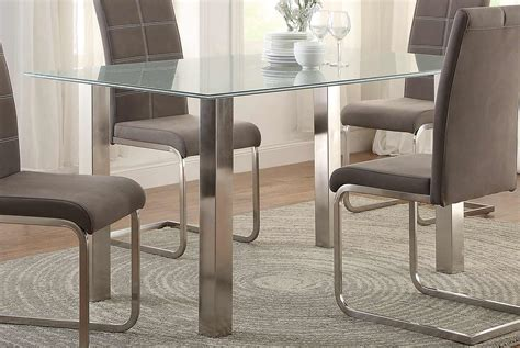 Crackle Glass Top Dining Table Homelegance Nerissa Dining Table Crackle Glass Top Chrome Legs 5249