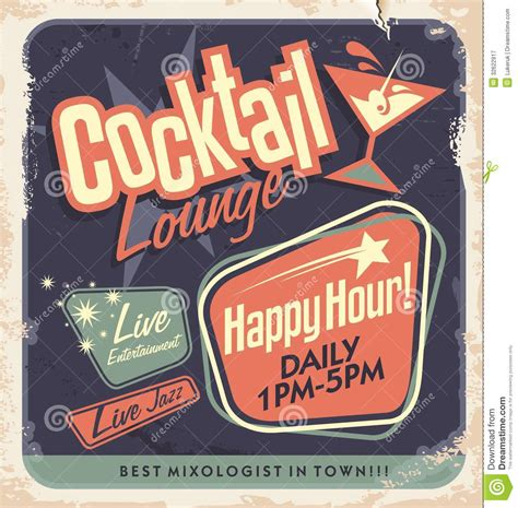 vintage cocktail vector retro poster design cocktail lounge party vector concept