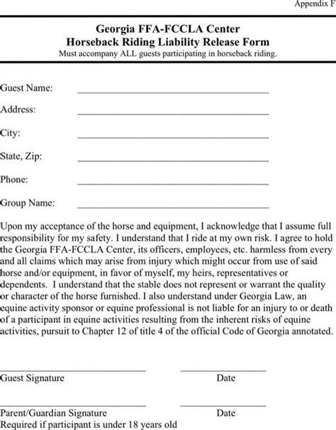 equine release form horseback liability release form