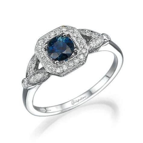 unique deco engagement rings unique engagement ring blue sapphire white gold diamonds leaves ring gem ring cocktail ring