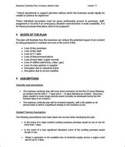It Business Continuity Plan Template by Business Continuity Plan Template 6 Free Word Pdf