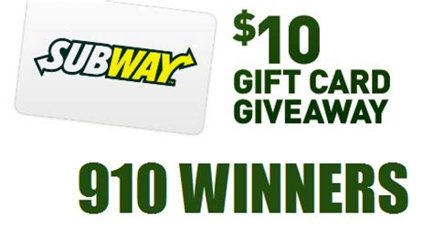 Free Subway Gift Card Codes - coupons and freebies 10 subway gift card instant win giveaway 910 winners