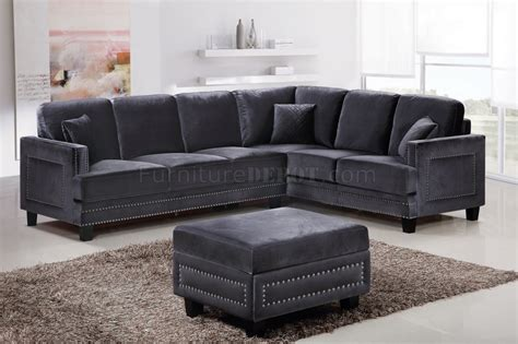 Ferrara 655 Sectional Sofa in Grey Velvet Fabric w/Options