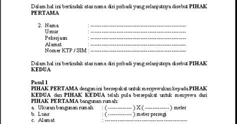 contoh surat perjanjian sewa rumah ruko kios