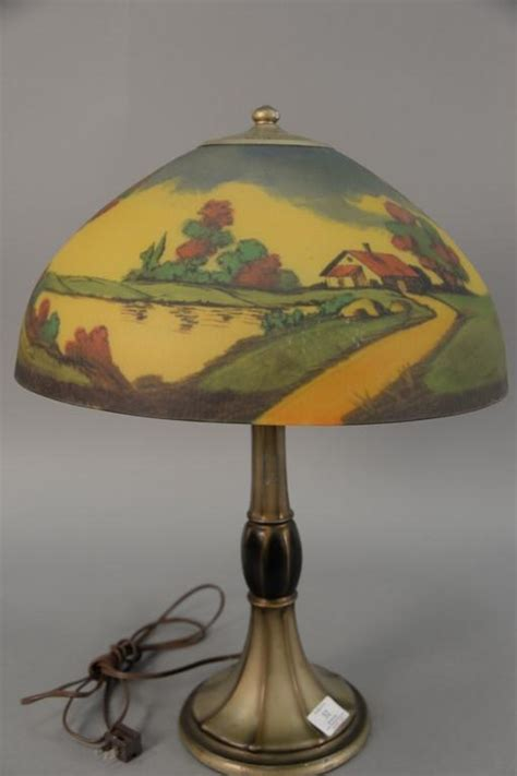 Jefferson L With Reverse Hand Painted Glass Shade