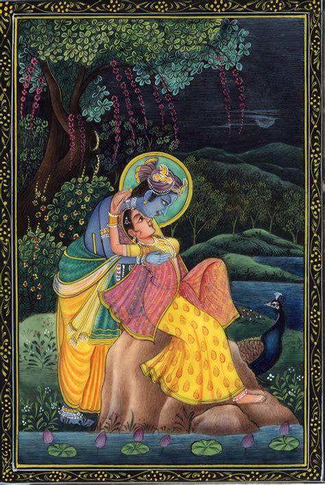 Handmade Paintings Of Radha Krishna - krishna radha ethnic decor painting handmade hindu indian