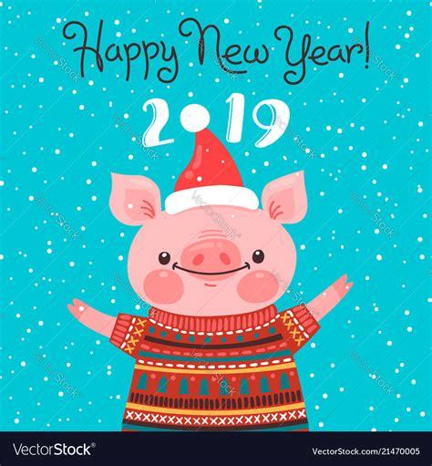 happy   year card funny piglet royalty  vector