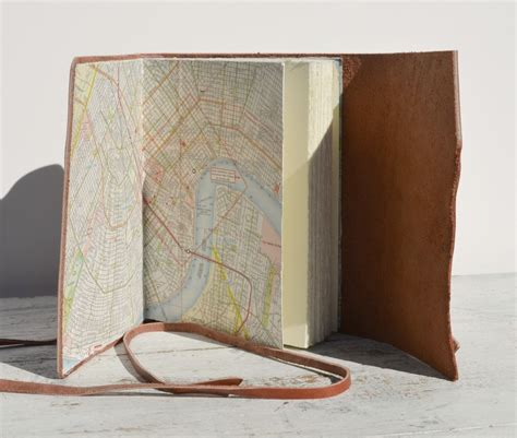 Handmade Travel Journal - custom leather bound handmade travel journal with vintage