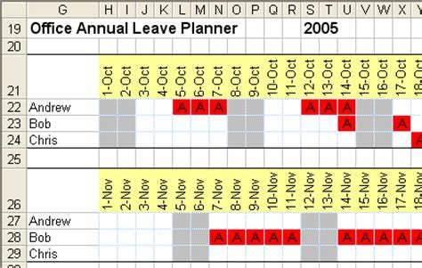 annual leave planner excel template annual leave planner template planner template free