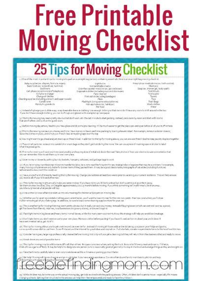 25 Tips For Moving Successfully And With Sanity Free Printable Moving Checklist Free Moving Checklist Template