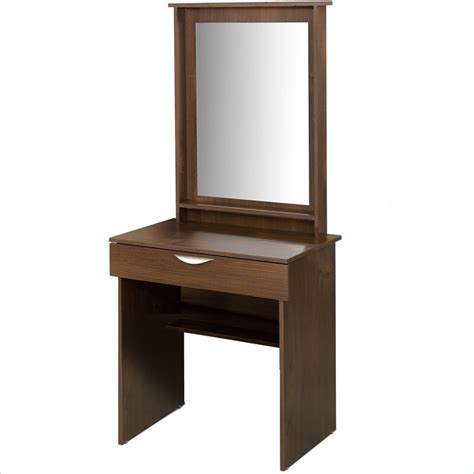 nexera nocce wood makeup vanity table mirror truffle