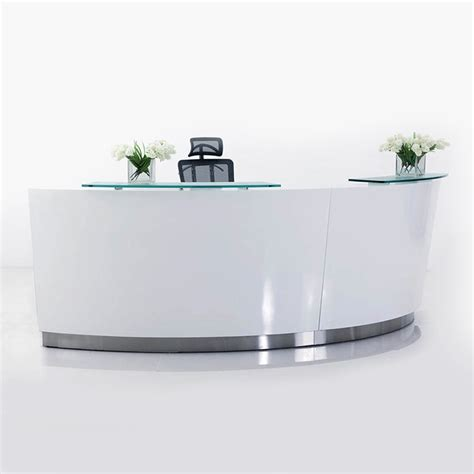 Curved Reception Desk Brilliance White High Gloss Curved Reception Desk Single Module Fast Office Furniture