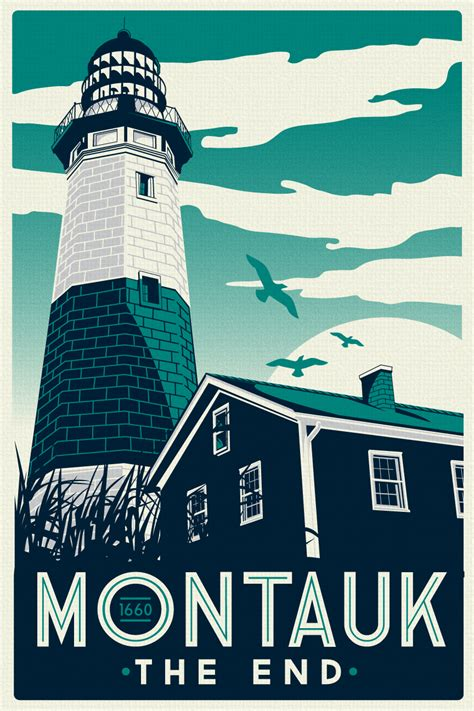 Cool Silkscreened Posters by Montauk Light House Retro Vintage Screen Print