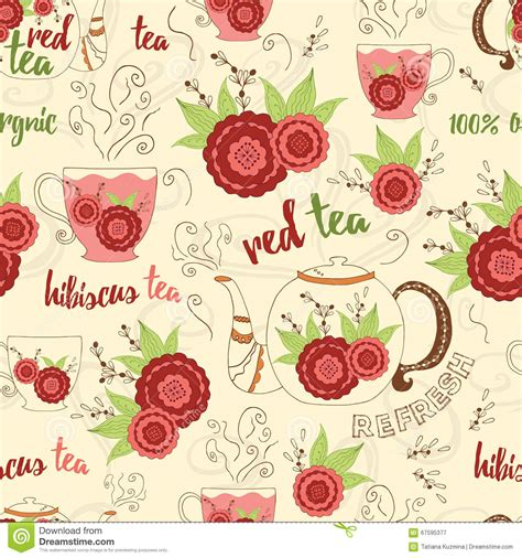 flower pattern kettles bright hand drawing seamless texture with red hibiscus tea