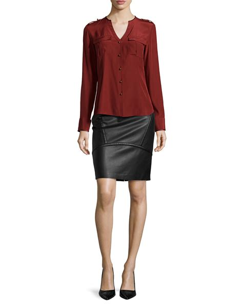 lafayette 148 new york seamed leather pencil skirt in