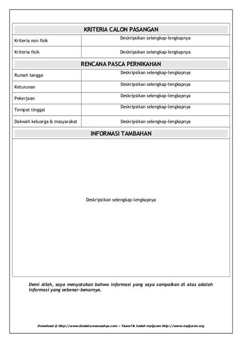 format biodata jodoh formatbiodatataaruf 120718120512 phpapp02