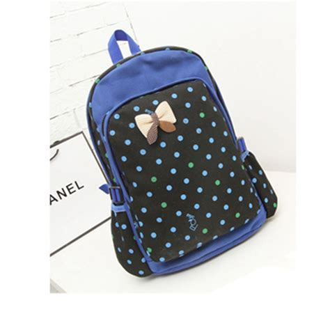 Simple Canvas Backpack Pink Intl bowknot polka dot canvas school college backpack