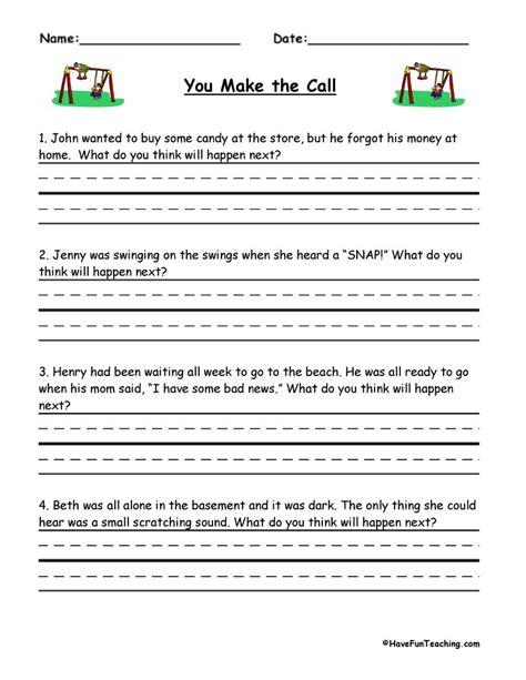 predictions worksheets teaching
