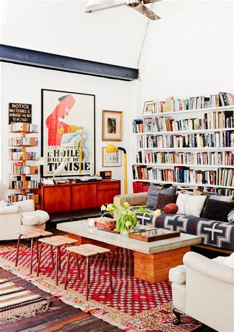 eclectic rooms get the look an eclectic and layered library living room