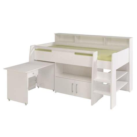 lit bureau pas cher dave lit combin 233 90cm bureau rangement blanc achat