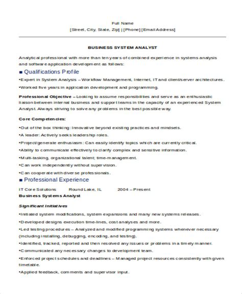 business systems analyst resume 30 it resume sles free premium templates