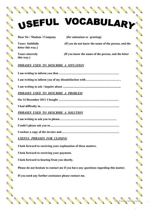 Writing A Complaint Letter To My Writing A Complaint Letter Worksheet Free Esl Printable