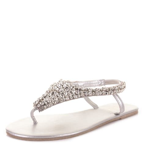 wedding shoes sandals flats womens toe post diamante beaded wedding flat