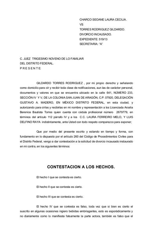 demanda de divorcio necesario sobre la causal de abandono contestaci 243 n gildardo