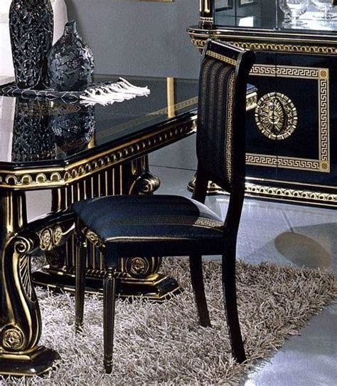Round Dining Room Table Sets Rossella Round Table Amp 4 Chair Set Black Amp Gold Versace Style