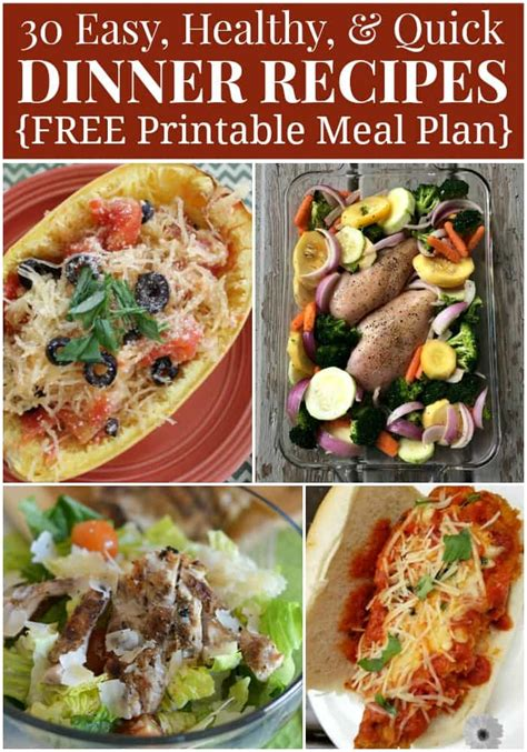 printable healthy dinner recipes healthy dinner menu plan 30 quick and easy recipes