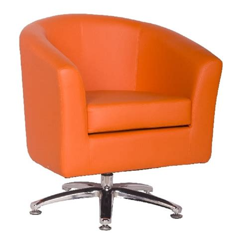 orange leather swivel chair leather tub chairs designer leather swivel tub chair