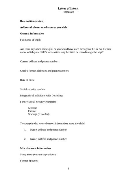 template letter of intent 2018 letter of intent template fillable printable pdf