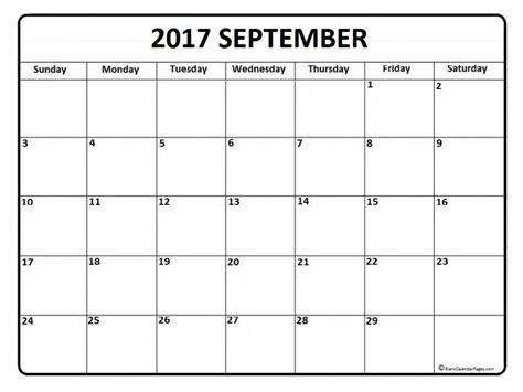 Calendar October 2017 Printable A4 September 2017 Calendar A4