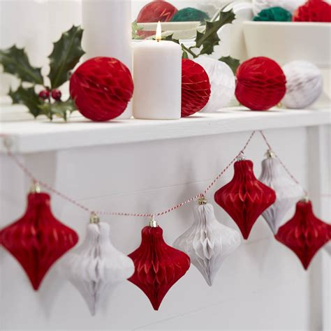 christmas red and white honeycomb bauble garland by ginger