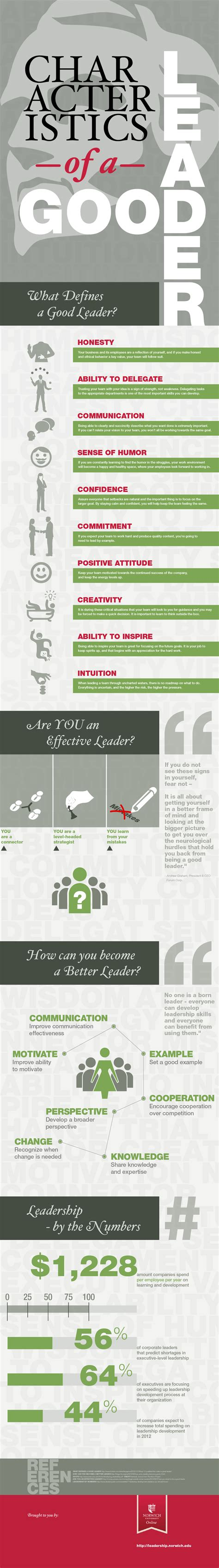 Mba School Characteristics by Characteristics Of A Leader Infographic