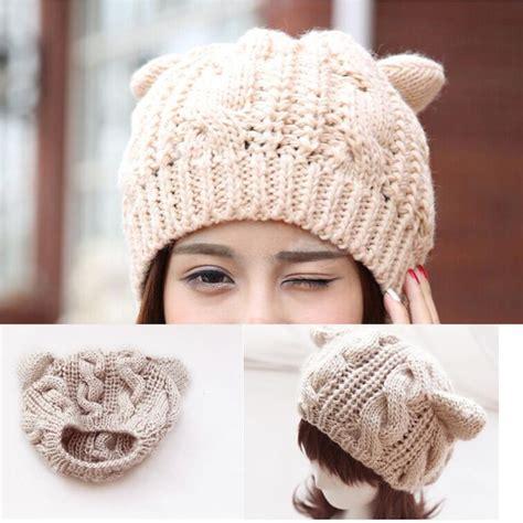 2016 Fashion Winter Wool Makes Hotspot Cat Ear Hat Beanie F 1 fashion winter wool makes hotspot cat ear hats beanie horns crochet