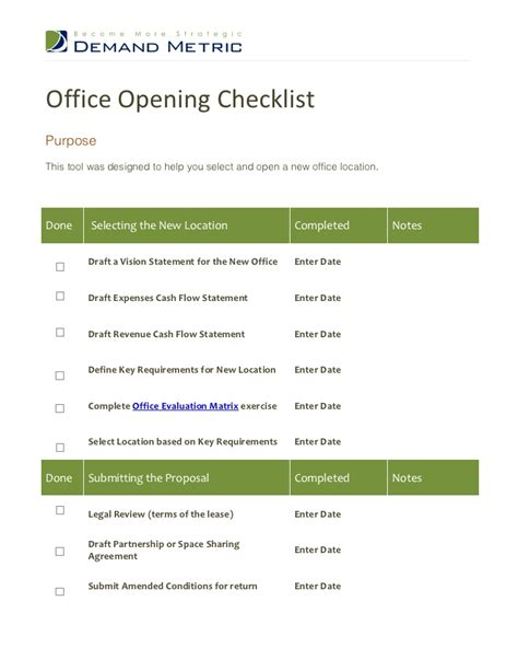Office Opening Checklist Open Office Checklist Template