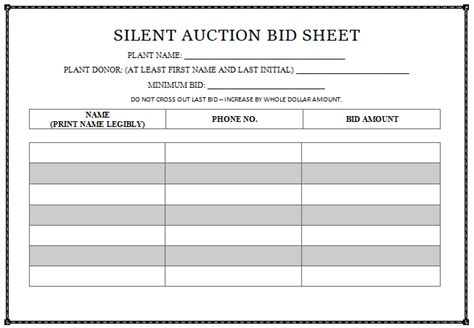6 silent auction bid sheet templates formats examples in word excel